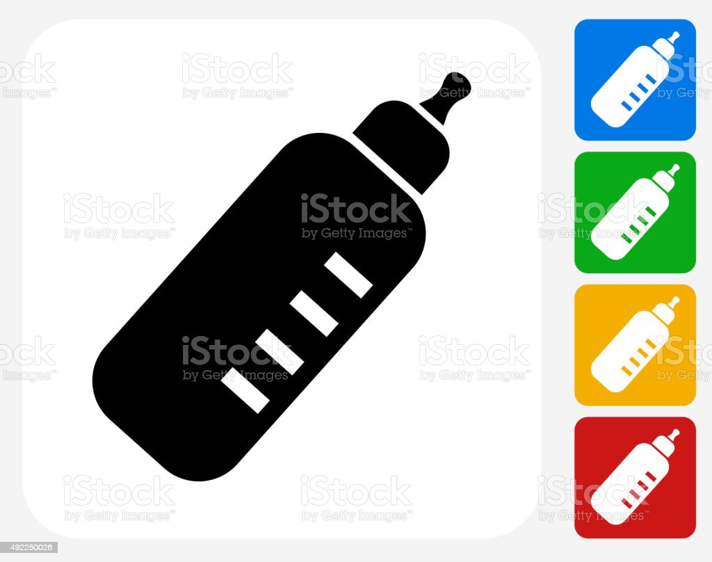 Baby Bottle Icon Flat Graphic Design vector art illustration