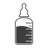 Baby bottle icon on drink. Vector on white background.