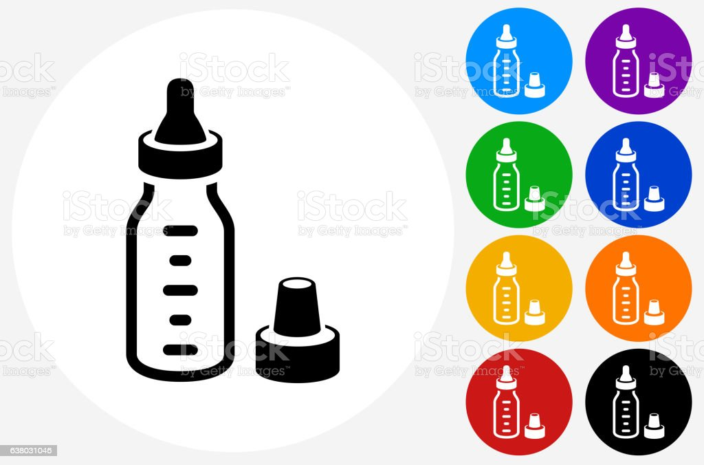 Baby Bottle Icon on Flat Color Circle Buttons vector art illustration