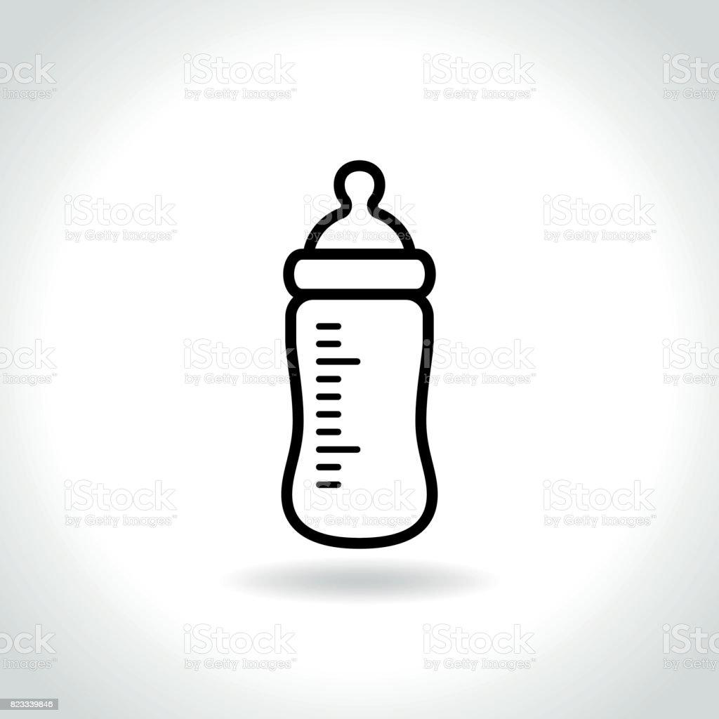 icône de bouteille de bébé sur fond blanc - Illustration vectorielle