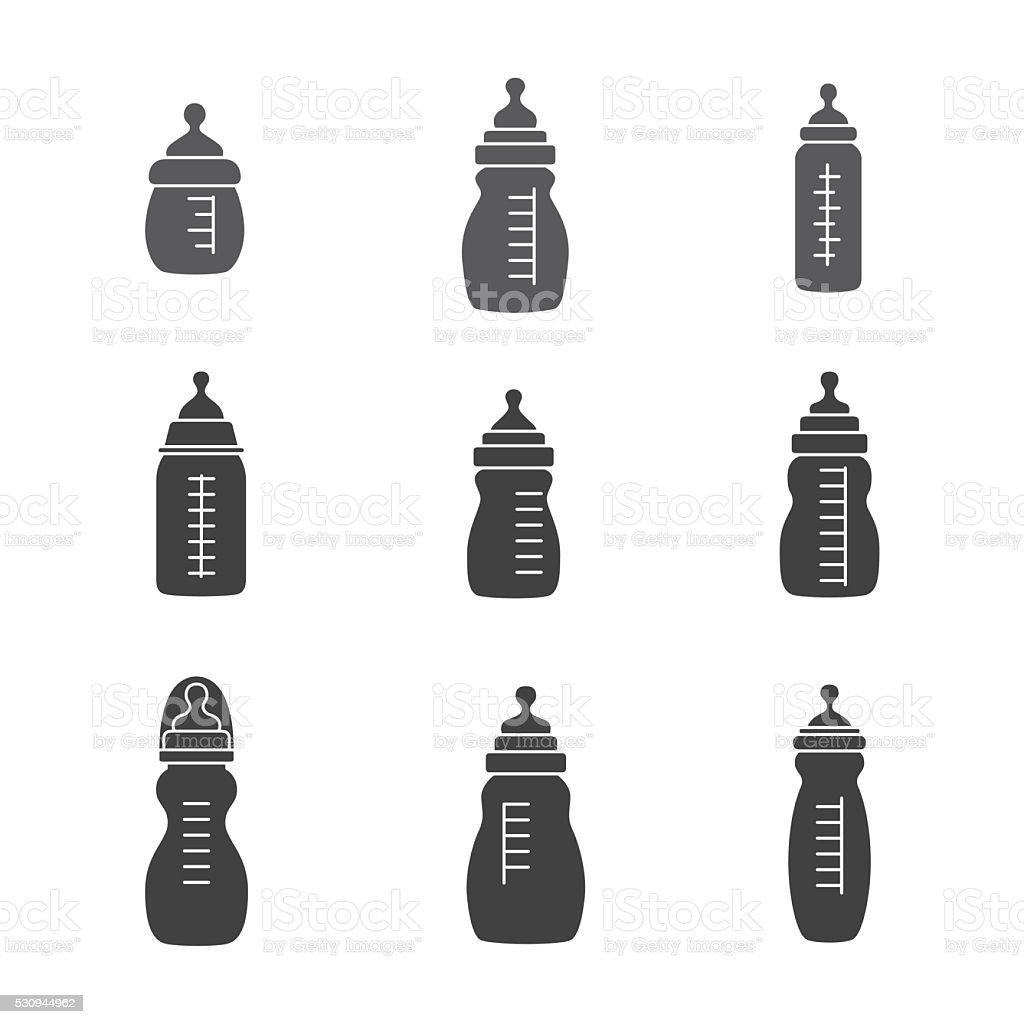Biberon groupe d'icônes. - Illustration vectorielle