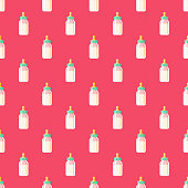 Baby Bottle Seamless Pattern