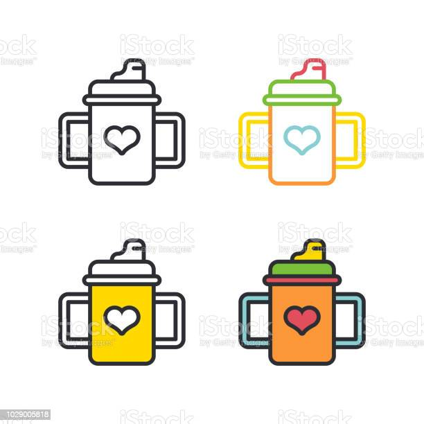 Baby bottle with handles flat simple line icons set vector id1029005818?b=1&k=6&m=1029005818&s=612x612&h=axm1scknj858ybk3ndcb9l81n4gy7htpw53ijyomkss=