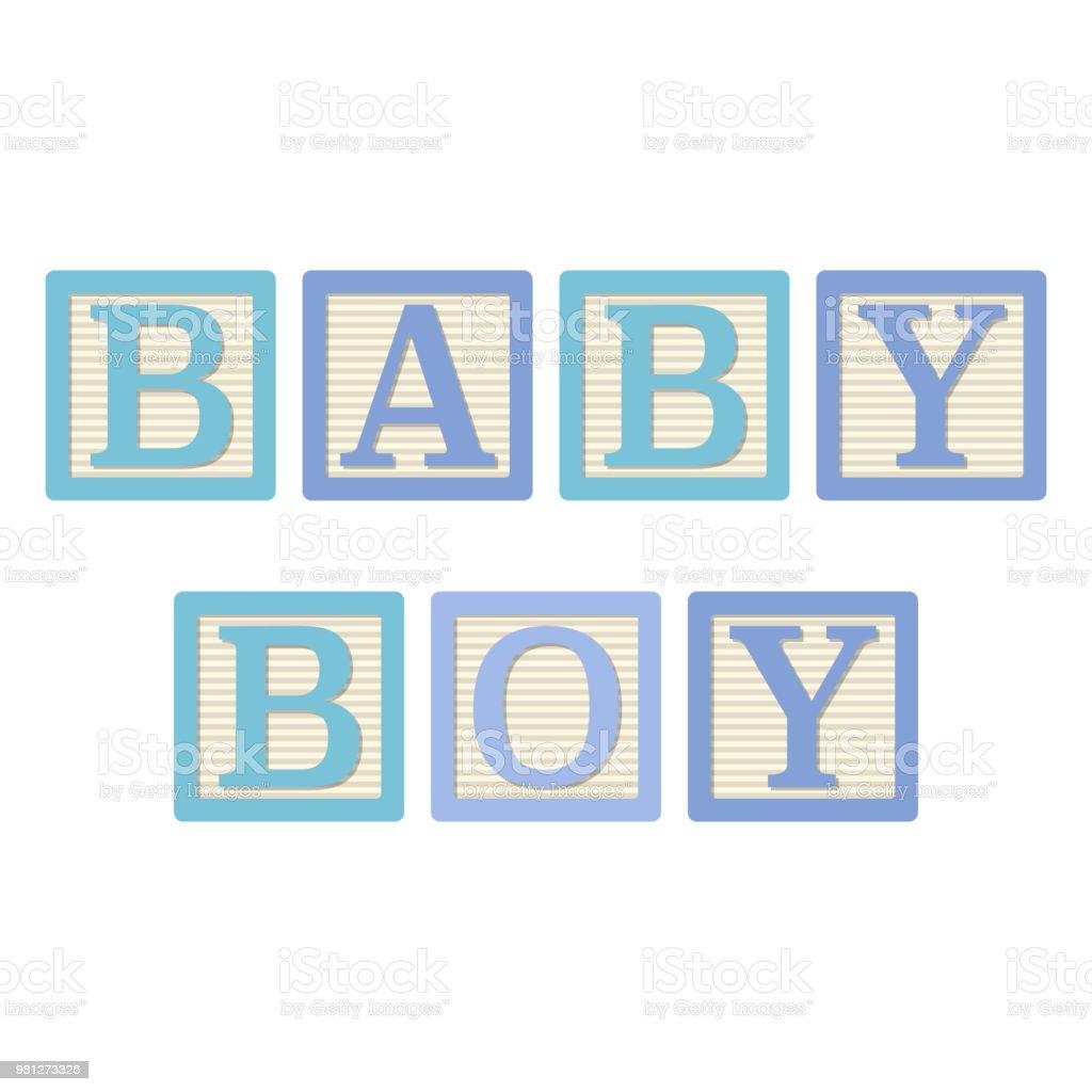 Baby Boy alfabeto bloques - ilustración de arte vectorial