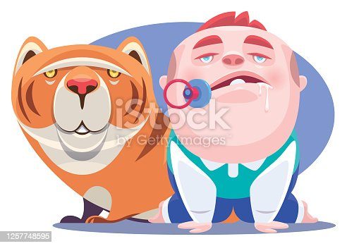 istock baby boy and cat looking at top view 1257748595