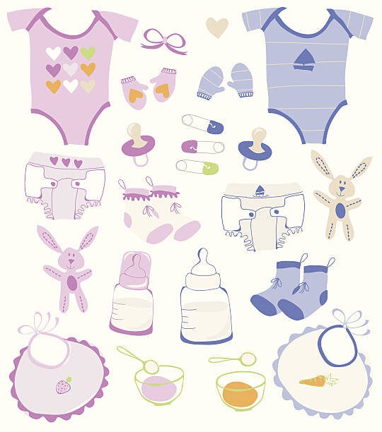 Baby boy and girl collection vector art illustration