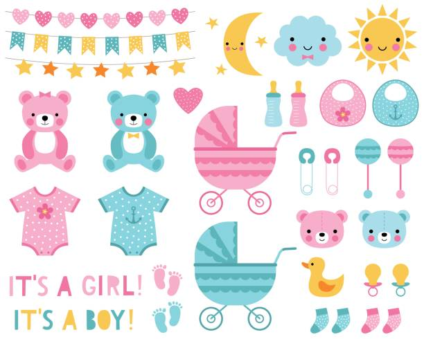 Baby boy and girl design elements Baby boy and girl design elements and decoration infant bodysuit stock illustrations