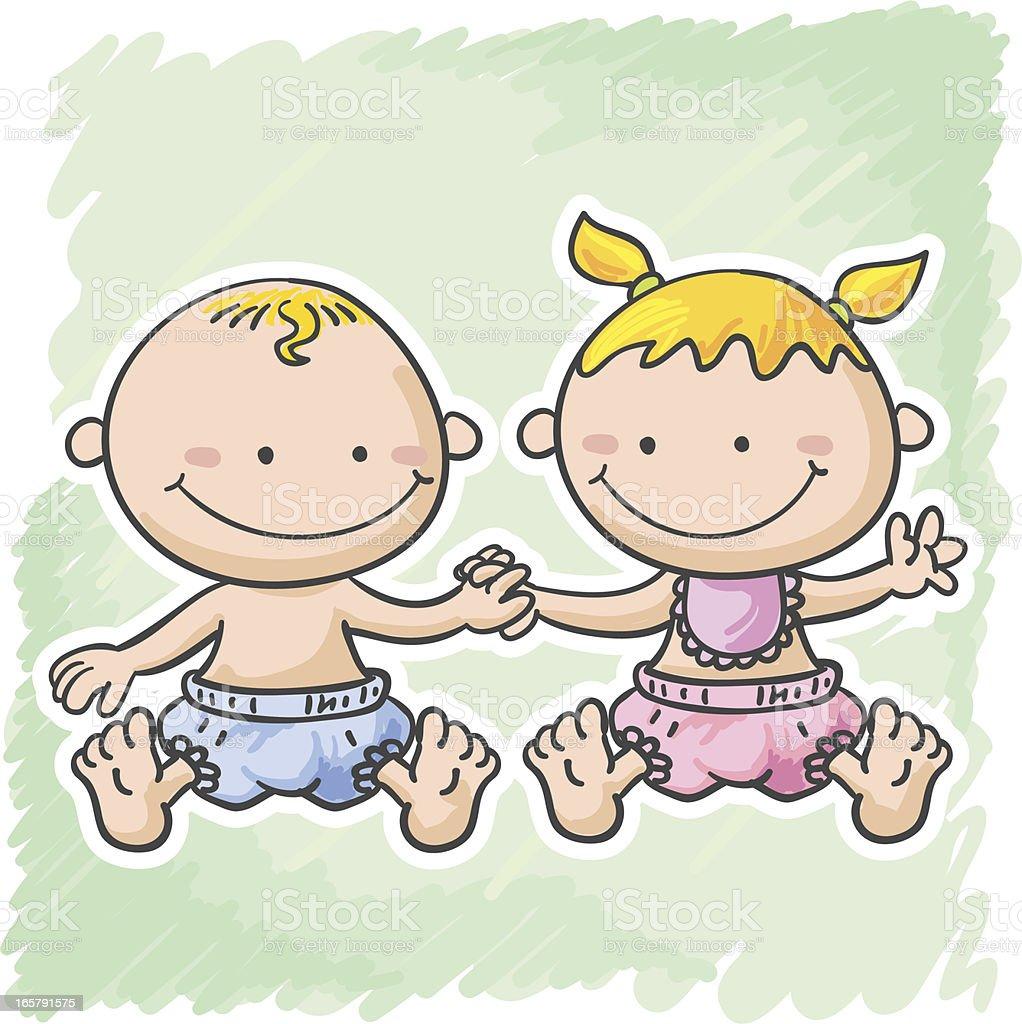 Ilustración De Bebé Niño Y Niña En Estilo De Dibujos Animados Y Más