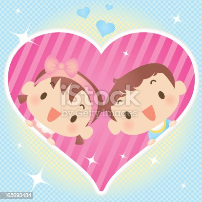 istock Baby Boy And Girl In Heart 165693434