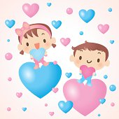 Vector illustration – Baby Boy And Girl Showing Love.