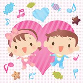 Vector illustration – Baby Boy And Girl Showing Love With Candy.