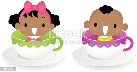 istock Baby Boy And Girl Sitting in Coffee Cup 165731674