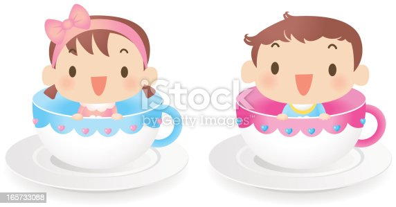 istock Baby Boy And Girl Sitting in Coffee Cup 165733088