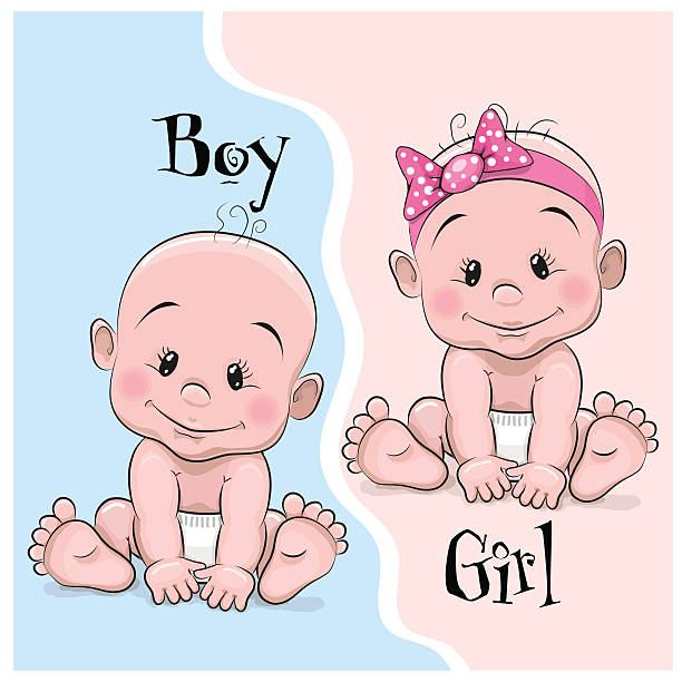 baby boy and girl - brother stock illustrations, clip art, cartoons, & icons