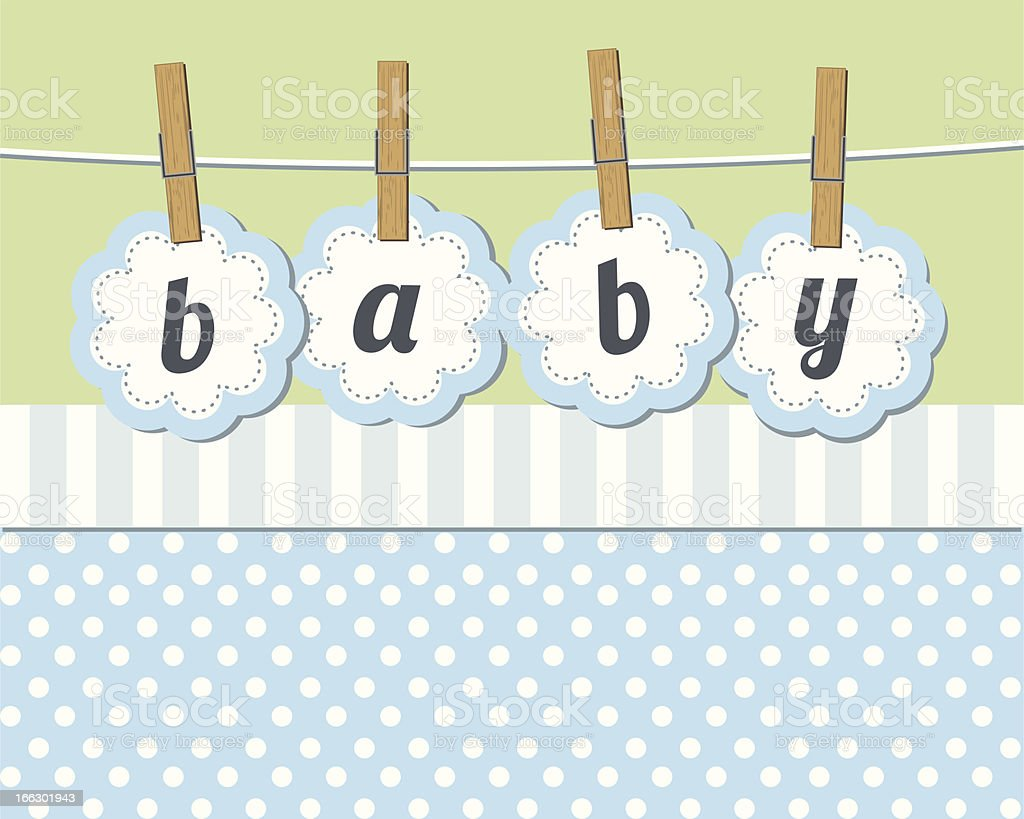 Baby boy arrival announcement card royalty-free stock vector art