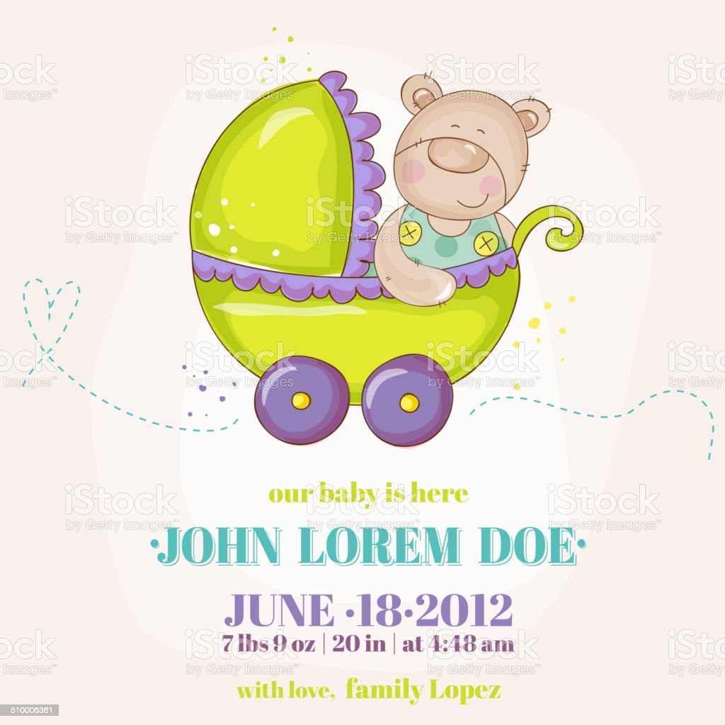 Baby Boy Arrival Card - Baby Bear in Carriage vector art illustration