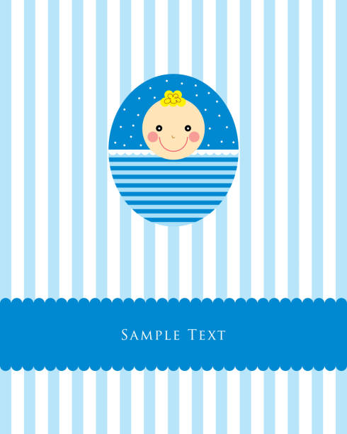 Baby Boy Ankunft Grußkarte Vektor – Vektorgrafik
