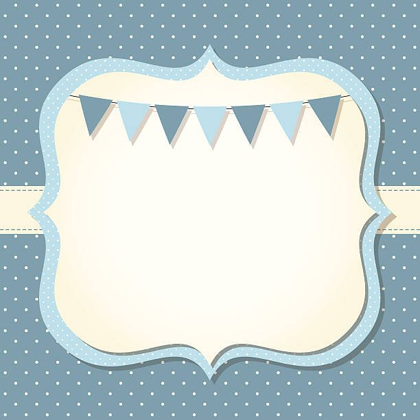 baby boy arrival or shower card - baby shower stock illustrations, clip art, cartoons, & icons