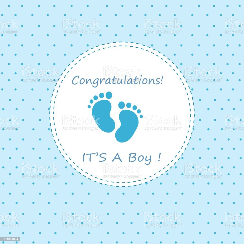 Baby Boy Arrival Or Shower Card Stock Illustration ...