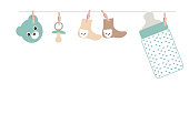 Baby boy baby shower greeting card with bottle, socks and teddy bear vector