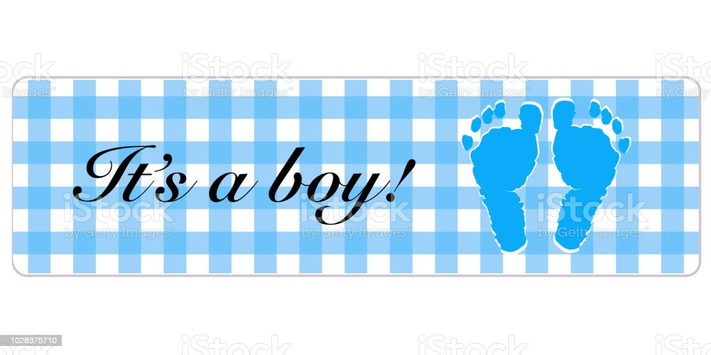 baby boy banner baby shower banner with foot prints stock vector art