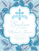 Baby Boy Baptism Or Christening Invitation Template