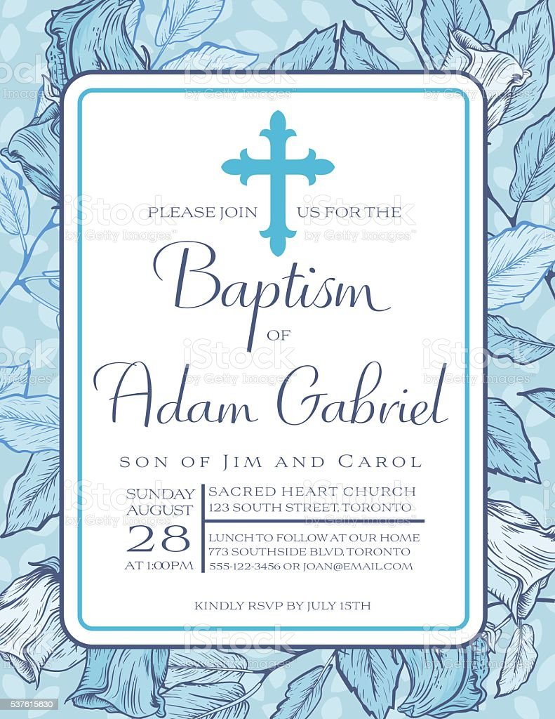 Baby Boy Baptism Or Christening Invitation Template Royalty Free Baby Boy  Baptism Or Christening Invitation