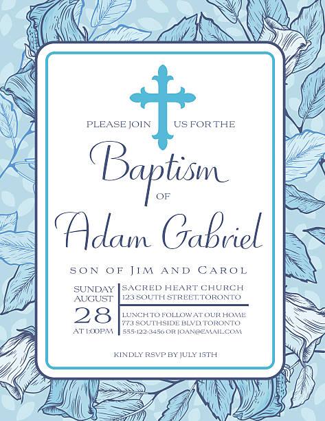 baby boy baptism or christening invitation template - christening stock illustrations, clip art, cartoons, & icons