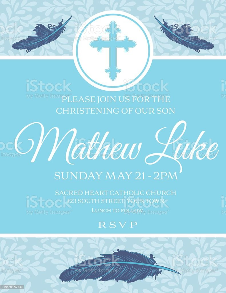 Baby Boy Baptism Or Christening Invitation Template vector art illustration