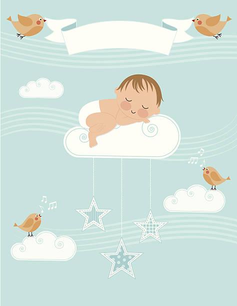 bildbanksillustrationer, clip art samt tecknat material och ikoner med baby boy birth announcement - baby sleeping