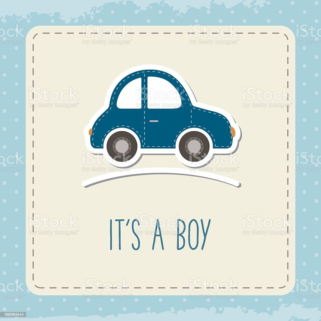 baby boy car card its a boy greeting cad for baby stock vector art