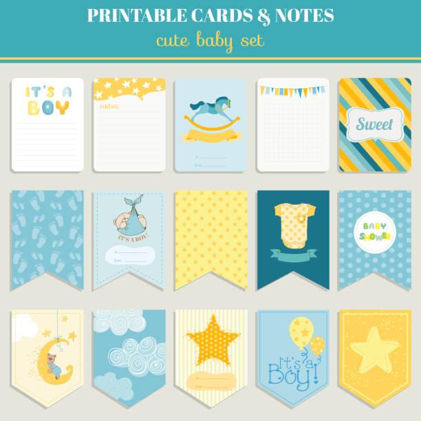 baby boy カードセットの誕生日、ベビーシャワーパーティー - ベビーシャワー点のイラスト素材/クリップアート素材/マンガ素材/アイコン素材