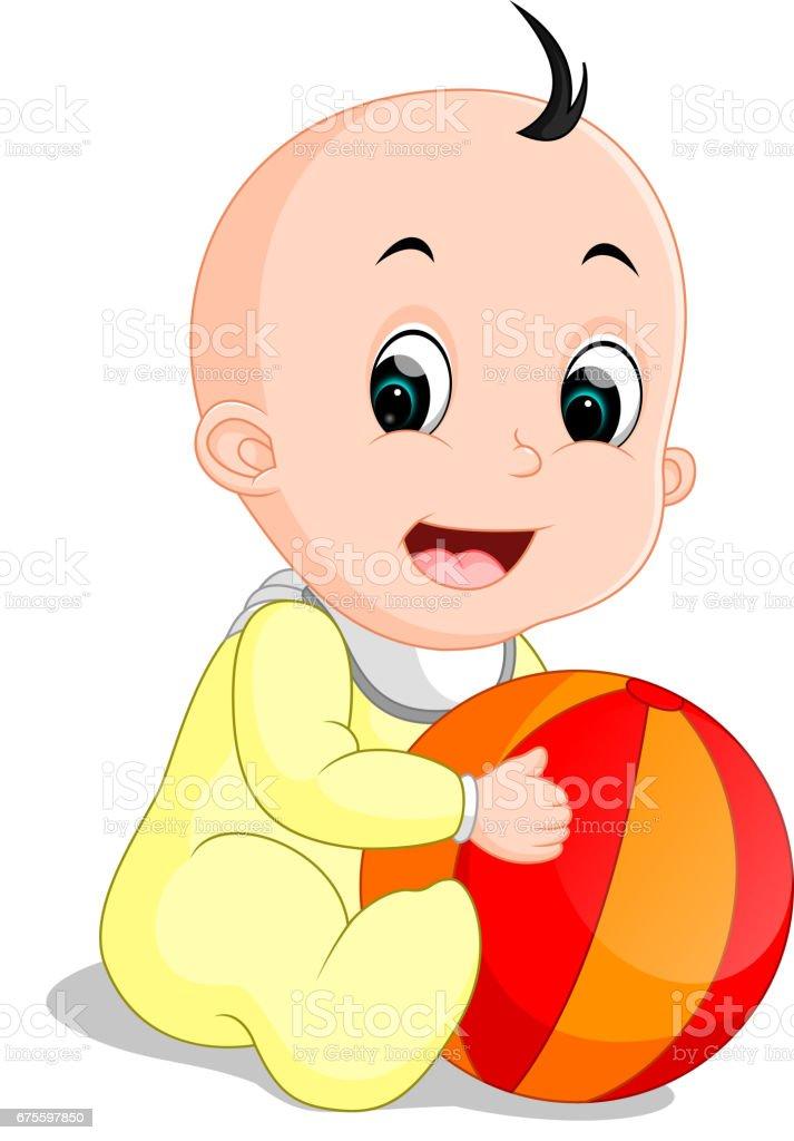 Caricature de garçon de bébé tenant une boule colorée caricature de garçon de bébé tenant une boule colorée – cliparts vectoriels et plus d'images de apprentissage libre de droits