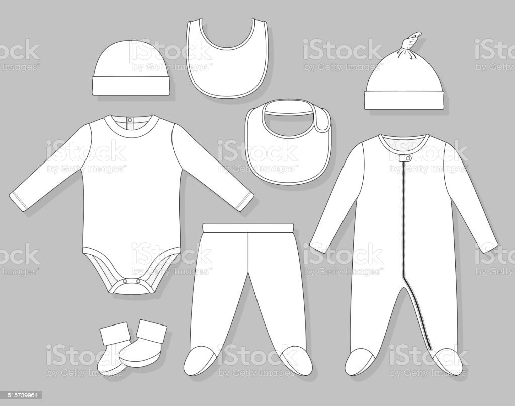 baby boy clothes vector art illustration
