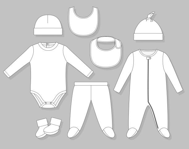 baby boy clothes baby boy clothes set flat sketch isolated on grey background baby clothing stock illustrations
