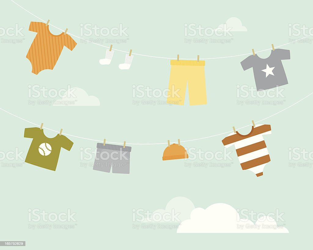 Baby Boy Clothesline vector art illustration