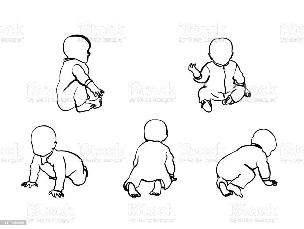 Baby Boy Crawl And Sit Six month old baby crawling around Arm stock vector
