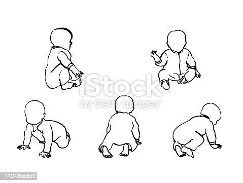 istock Baby Boy Crawl And Sit 1124355359
