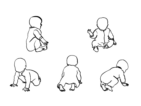 Baby Boy Crawl And Sit Stock Illustration - Download Image Now