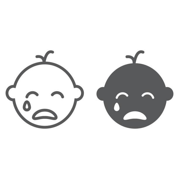 stockillustraties, clipart, cartoons en iconen met baby jongen huilen lijn en glyph pictogram, emotie en kind, gezicht teken, vector graphics, een lineair patroon op een witte achtergrond. - alleen één jongensbaby