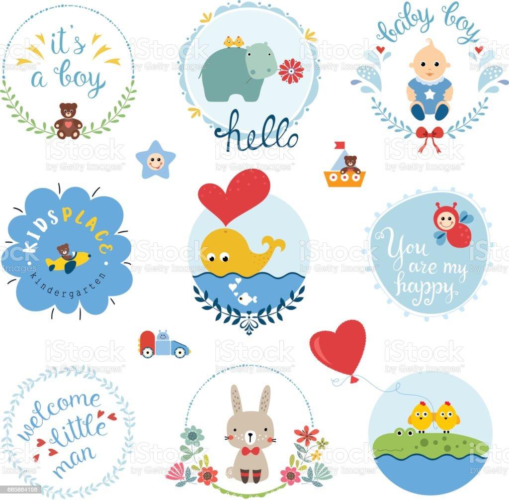 Baby Boy Design Set vector art illustration