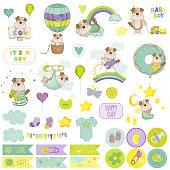 Baby Boy Dog Scrapbook Set. Vector Scrapbooking. Decorative Elements