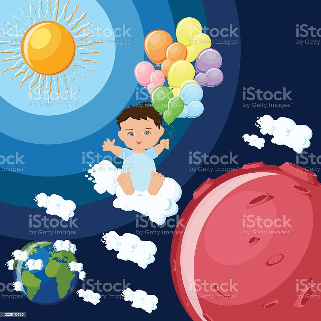 Baby boy dreams to fly to Mars. vector art illustration
