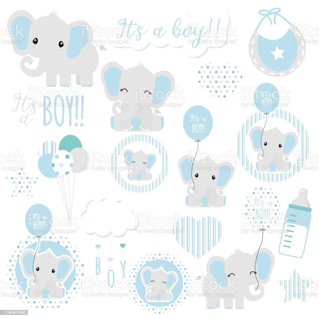 Baby Boy Elephant Gender Reveal Baby Shower Clipart Its A Boy Vector Art Stock Illustration Download Image Now Istock