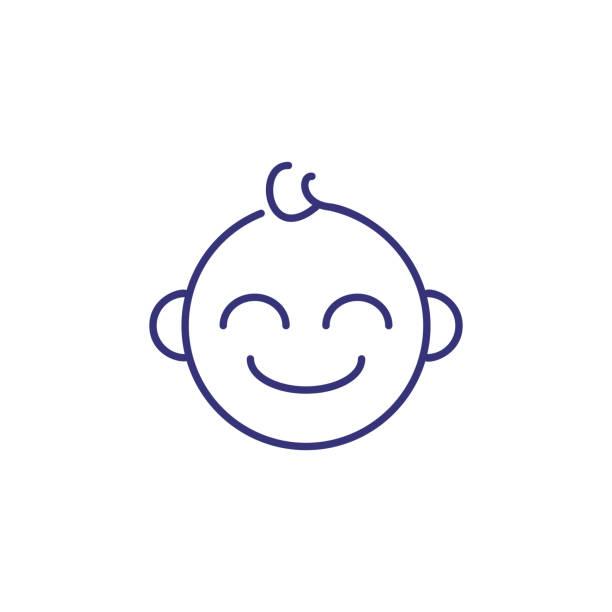 赤ちゃん男の子の顔の線アイコン - 保育点のイラスト素材/クリップアート素材/マンガ素材/アイコン素材