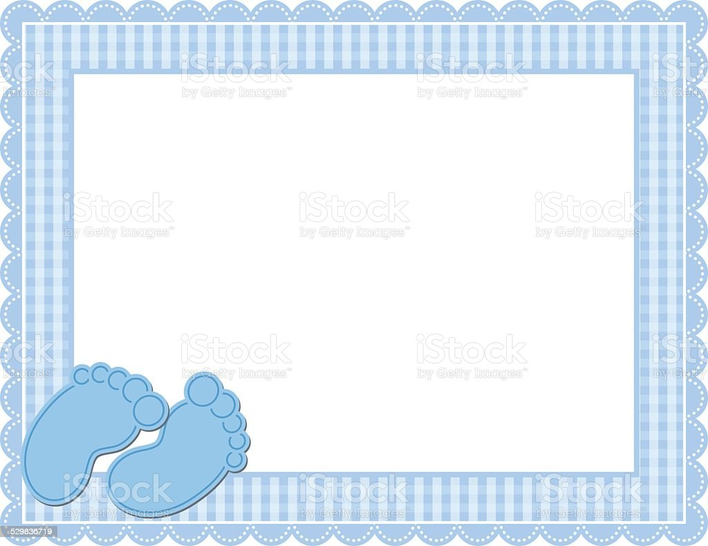 Baby Boy Gingham Frame vector art illustration