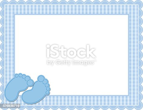 Baby Boy Gingham Frame Stock Vector Art Amp More Images Of