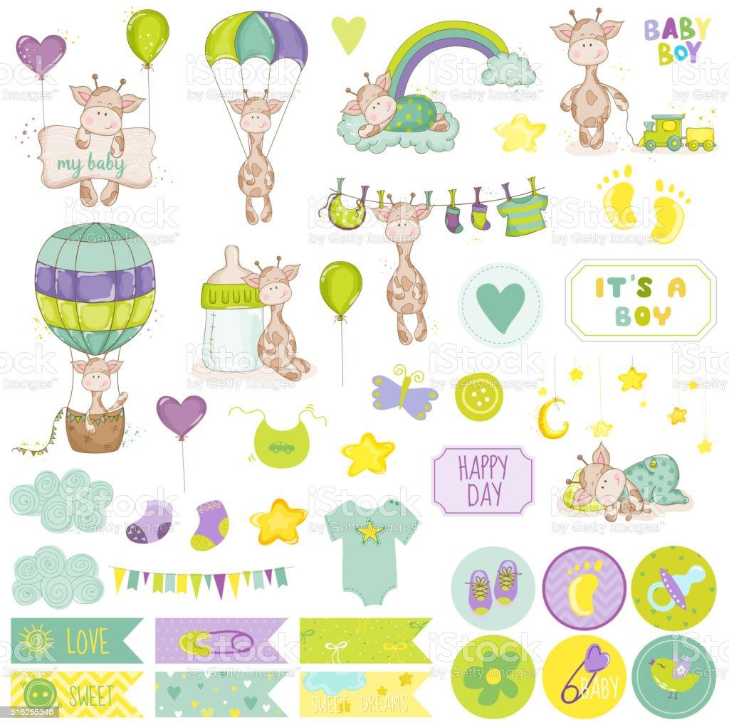 Baby Boy Giraffe Scrapbook Set. Vector Scrapbooking. Decorative Elements vector art illustration