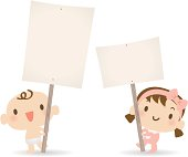 Vector illustration – Cute baby holding a blank sign for your message.