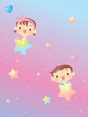 Vector illustration – Baby Boy Girl Playing In Starry Sky And Showing Love.